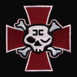 Winking Skull Cross Red