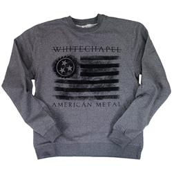 Strike Through Salute Gunmetal Heather Raglan Crewneck