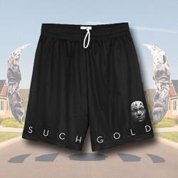 Face Black Mesh Shorts