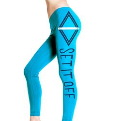 Custom Logo Blue Leggings
