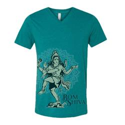 Bom Shiva Teal Tri-Blend Men's V-Neck
