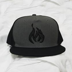 Flame Black/Grey Snapback Hat
