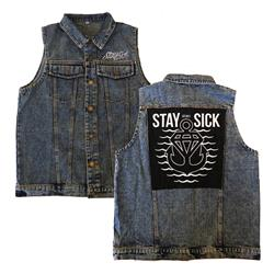 Waves Sleeveless Denim Vest