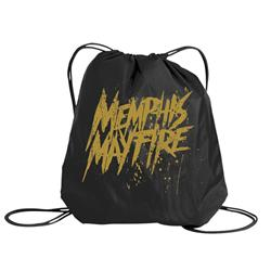 Yellow Logo Black Cinch Bag