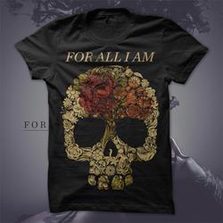 Floral Skull Black T-Shirt
