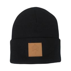 Logo Leather Patch On Black Winter Cap