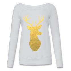 Gold Foil Deer White Wide Neck Sweater