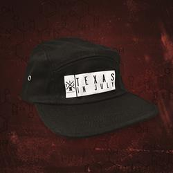 Black 5 Panel Hat W/Embroidered Patch