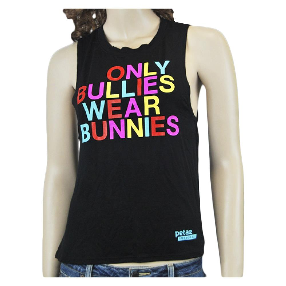 Only Bullies Wear Bunnies Black Tank Top