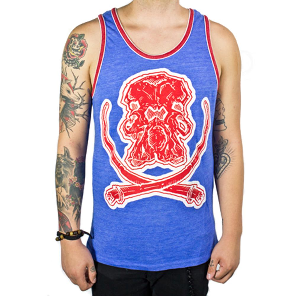Mammoth Logo Blue Double Ringer Tank Top