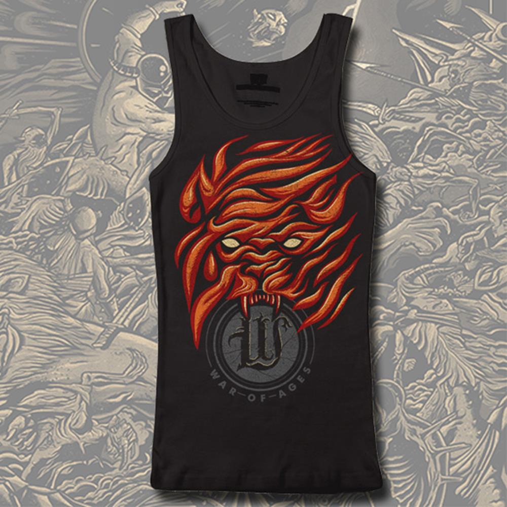 Red Flames Black Tank Top